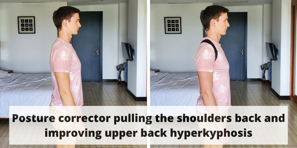A young man posing without and with one of the correctors for back. As he is wearing it, his posture improves.