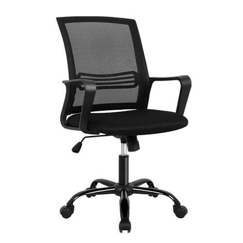Black Mesh Office Chair With Lumbar Support On White Background