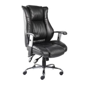 high back bonded leather office chair on white background